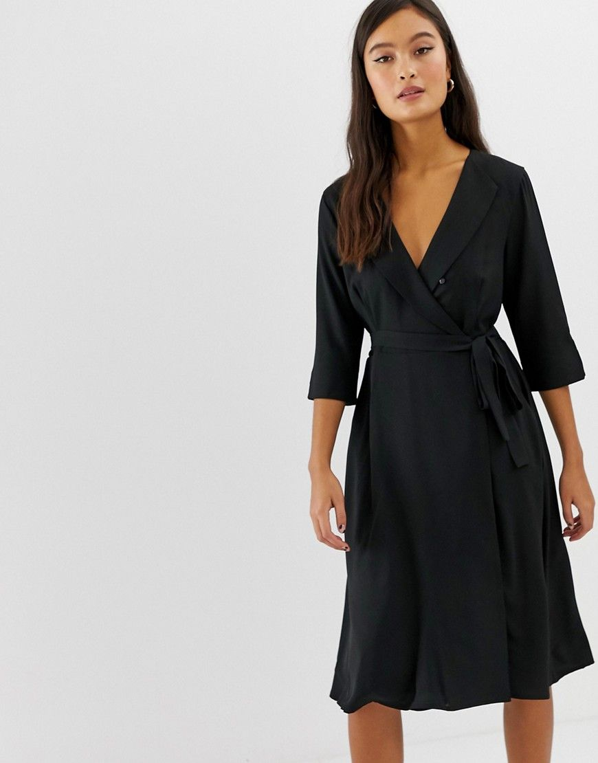 Amy Lynn 3 4 Sleeve Wrap Front Dress Wrap Front Dress Maxi Dress With Sleeves Wide Sleeve Sweater [ 1110 x 870 Pixel ]