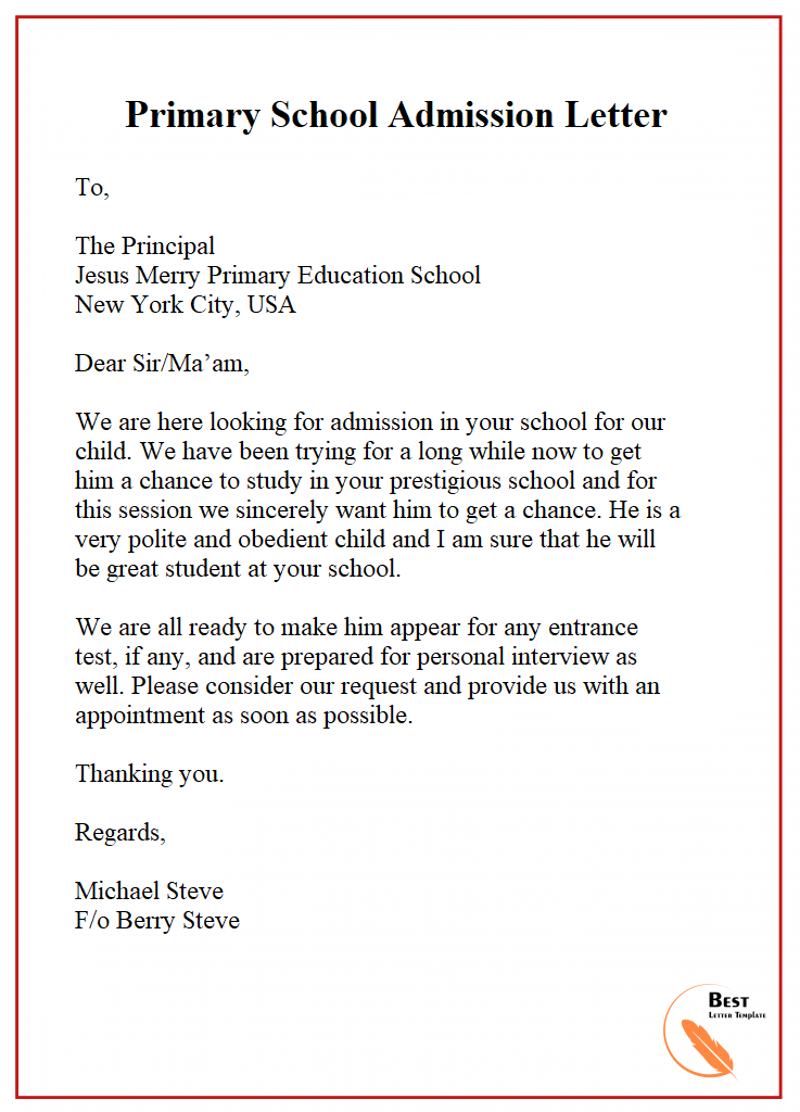 Letter Of Admission Template Format Sample Example In 2020 School Admissions Lettering Admissions