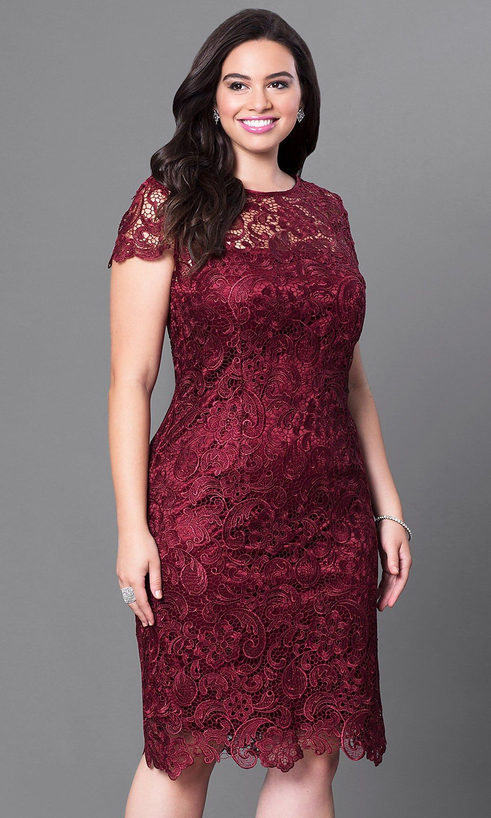 Plussize short lace party dress with sleeves naty pinterest