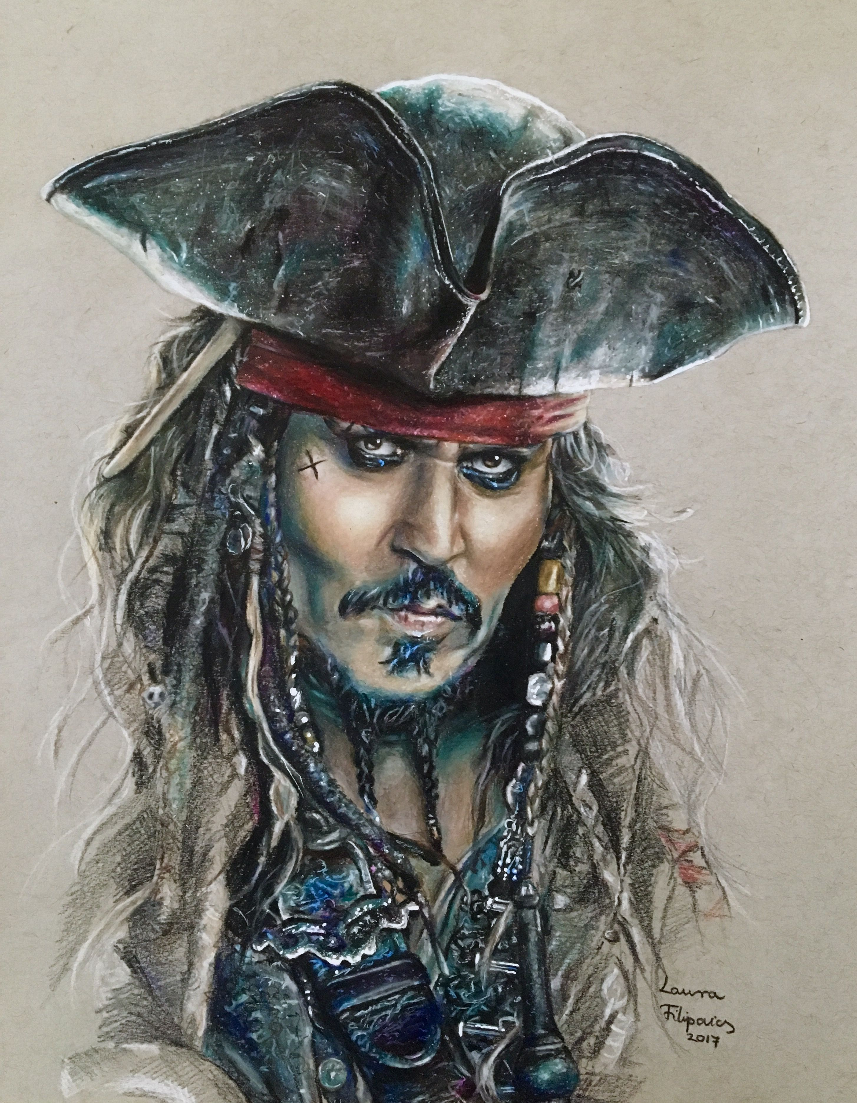 Colored pencil drawing of Johnny Depp as Captain Jack Sparrow from the  Pirates of the Caribbean by Laura Filipovics ☠️ 0157449f5c