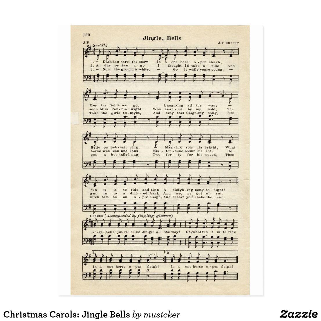 Christmas Carols Jingle Bells Holiday Postcard Zazzle