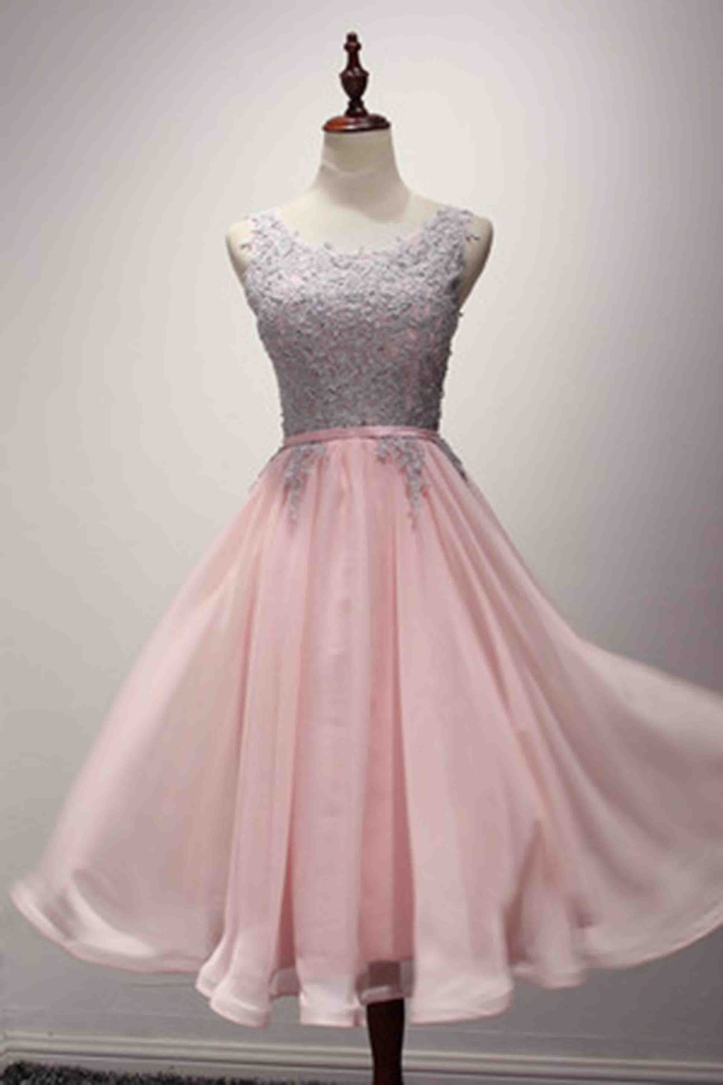Pink chiffon lace applique simple short prom dressbridesmaid dress