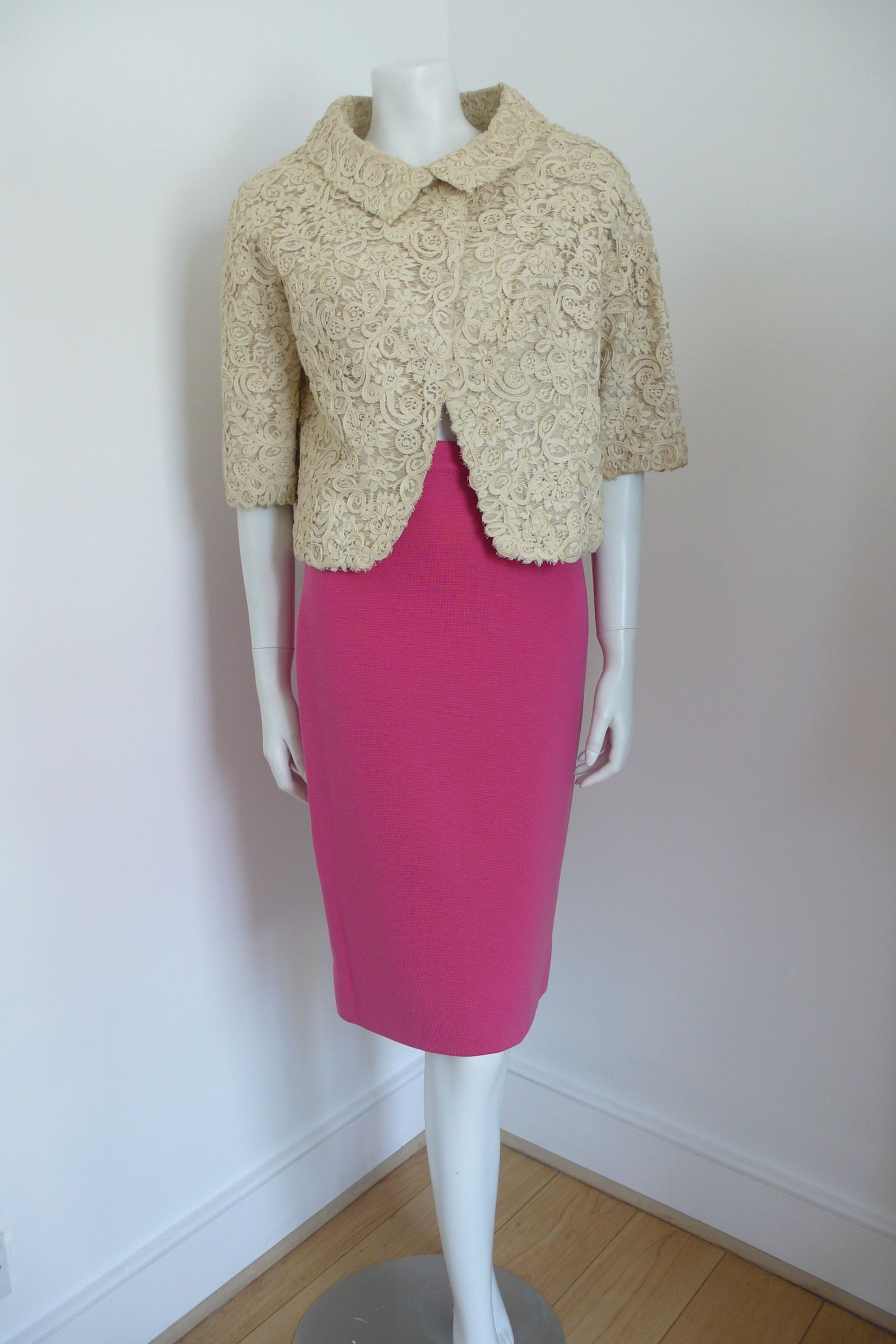 Pink lace dress with jacket  Very wearable s jacket with hidden popper fastenings and cute