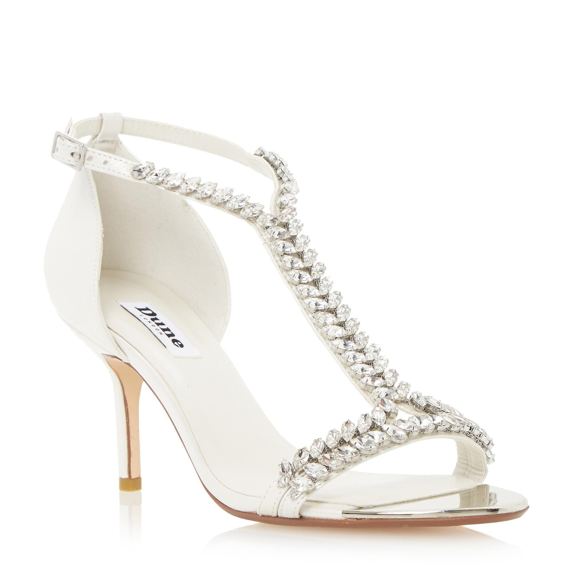 Dune Ladies Melodee T Bar Jewelled Mid Heel Sandal White