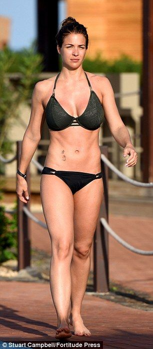15abb17dd The 31-year-old Emmerdale actress showed off her hot bikini body in a black  bikini as she made a splash while staying at The Melia Dunas Resort in Sal