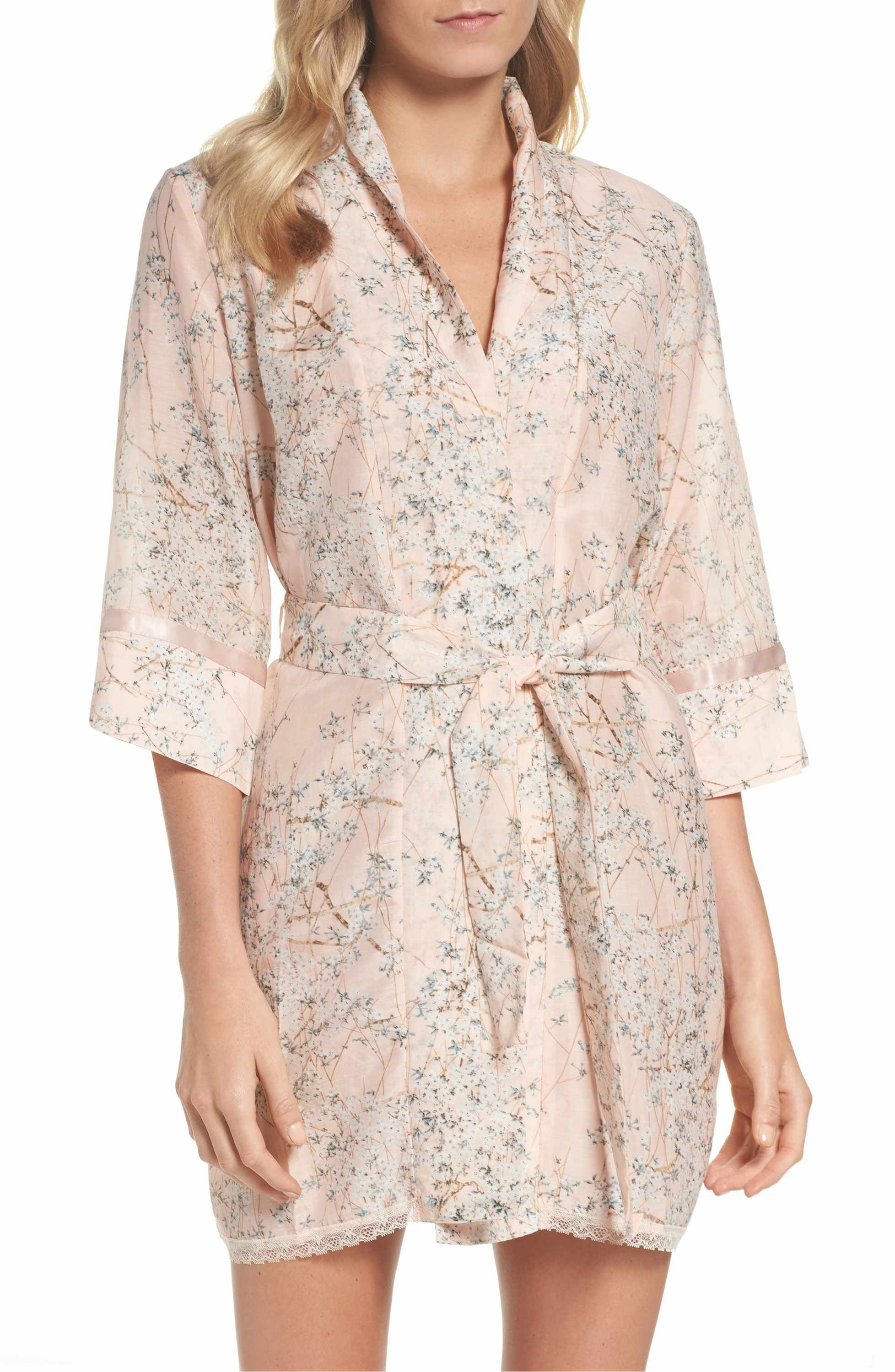 7a749c297 Main Image - Papinelle Cherry Blossom Cotton & Silk Short Robe Pink  Dressing Gown, Short