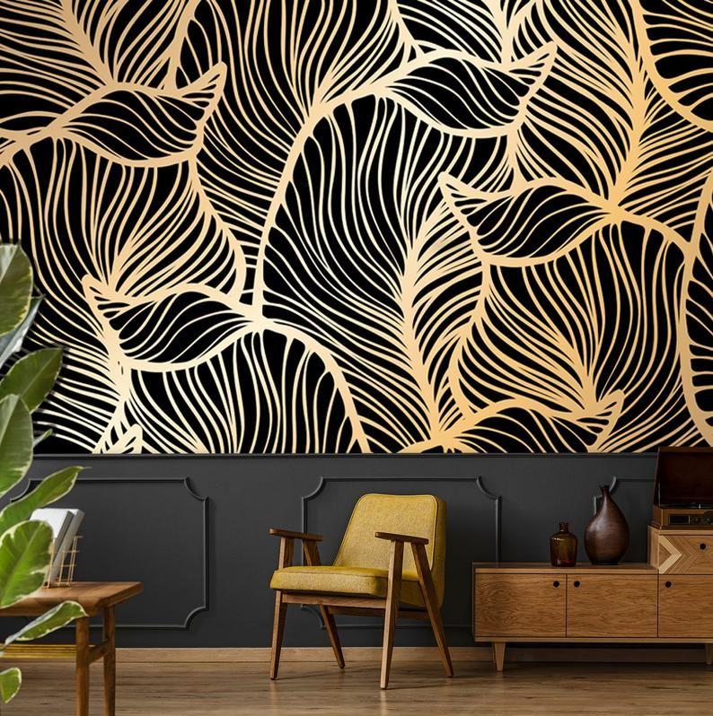 Banana Leaf Wallpaper Peel And Stick Tropical Wall Mural Etsy Jungle Wallpaper Leaf Wallpaper Temporary Wallpaper