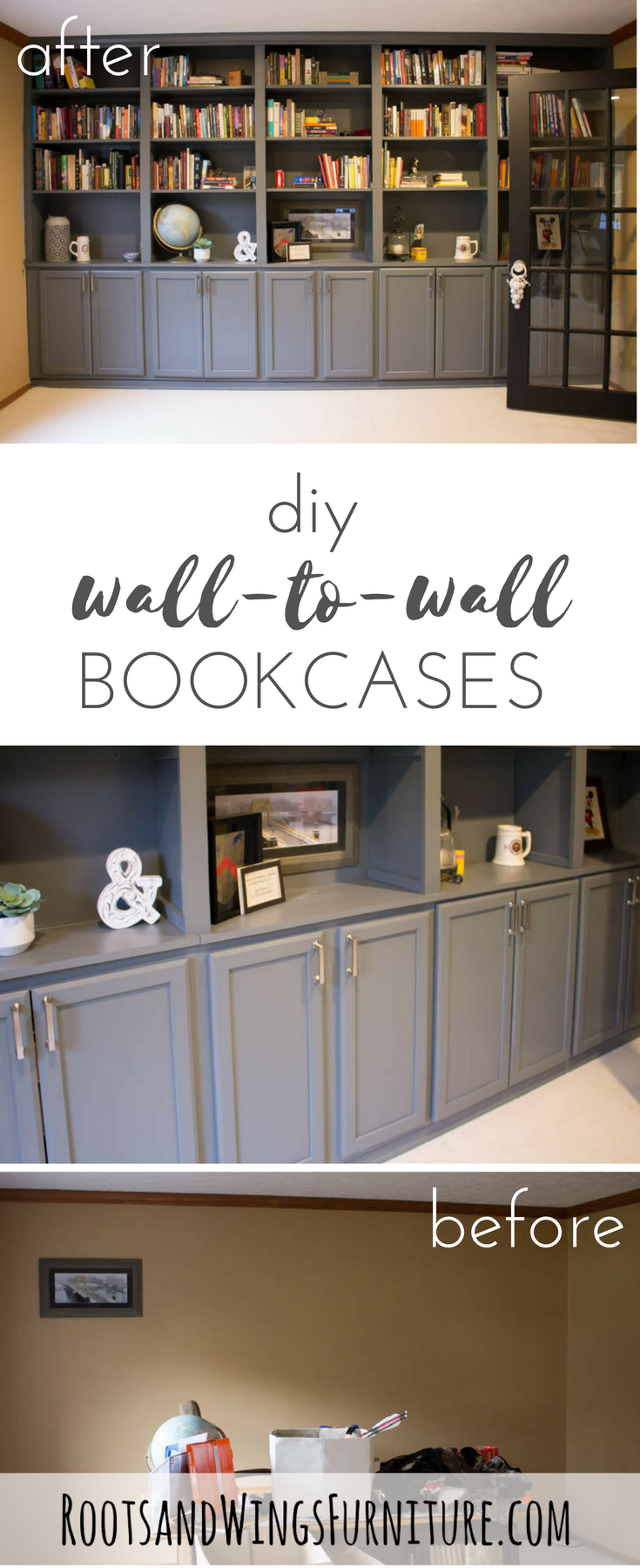 How To Build Built In Shelves The Reveal Roots Wings Furniture Llc Home Office Design Used Kitchen Cabinets Bookshelves Diy