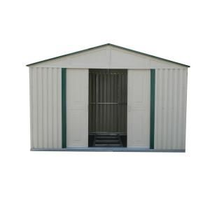 Duramax Building Products 10 Ft X 10 Ft Green Trim Metal Shed Discontinued 50411 The Home Depot Duramax Sheds Storage Shed Kits Vinyl Storage Sheds