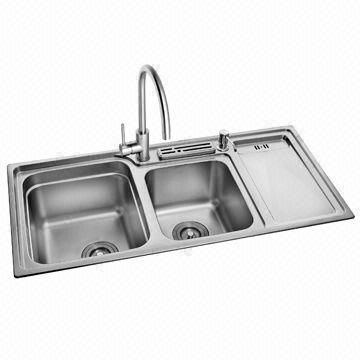 Double bowl kitchen sink with drain board, have holes for faucet ...
