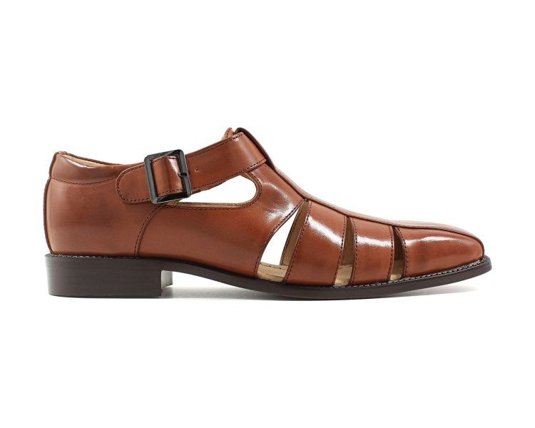 d7e7d92fcbd2 Catch the style of the Calisto Fisherman Sandal from Stacy Adams.  Faux-leather upper in a fisherman sandal style with a closed toe Adjustable  buckled strap ...