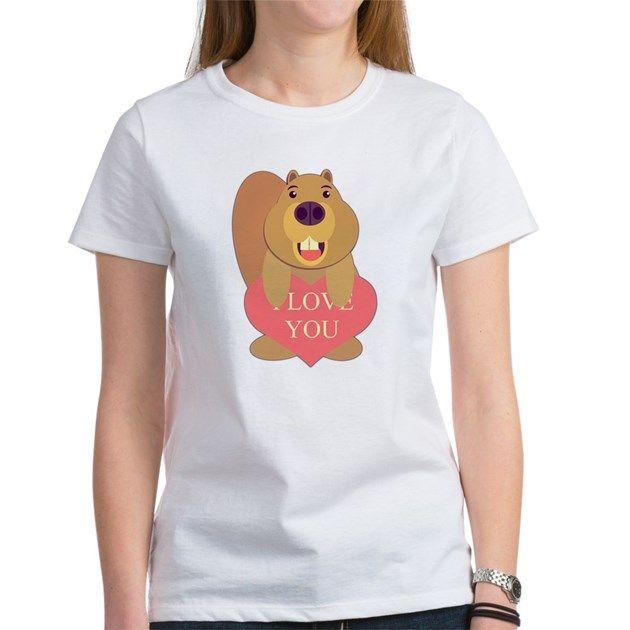 I Love Heart Beavers Ladies T-Shirt