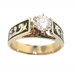 Hawaiian Diamond Kuhio Ring ½ct The A French Mount With Rich Scroll And An Elegant Enamel Finish Is Set Center