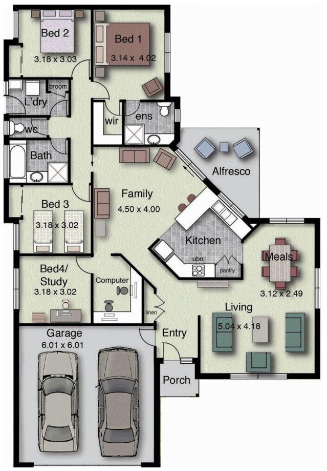 plano de casa de 4 dormitorios y 2 garages planos para casas pinterest grundrisse. Black Bedroom Furniture Sets. Home Design Ideas