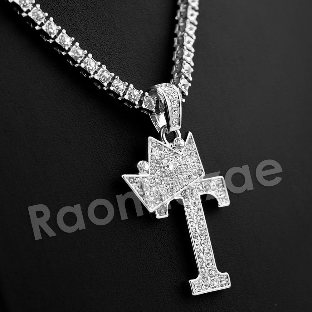 Iced Out Silver Crown T Initial Pendant W 24 Cuban Tennis Chain Necklace Raonhazae Pendantchain Monogram Jewelry Initial Pendant Initial Necklace