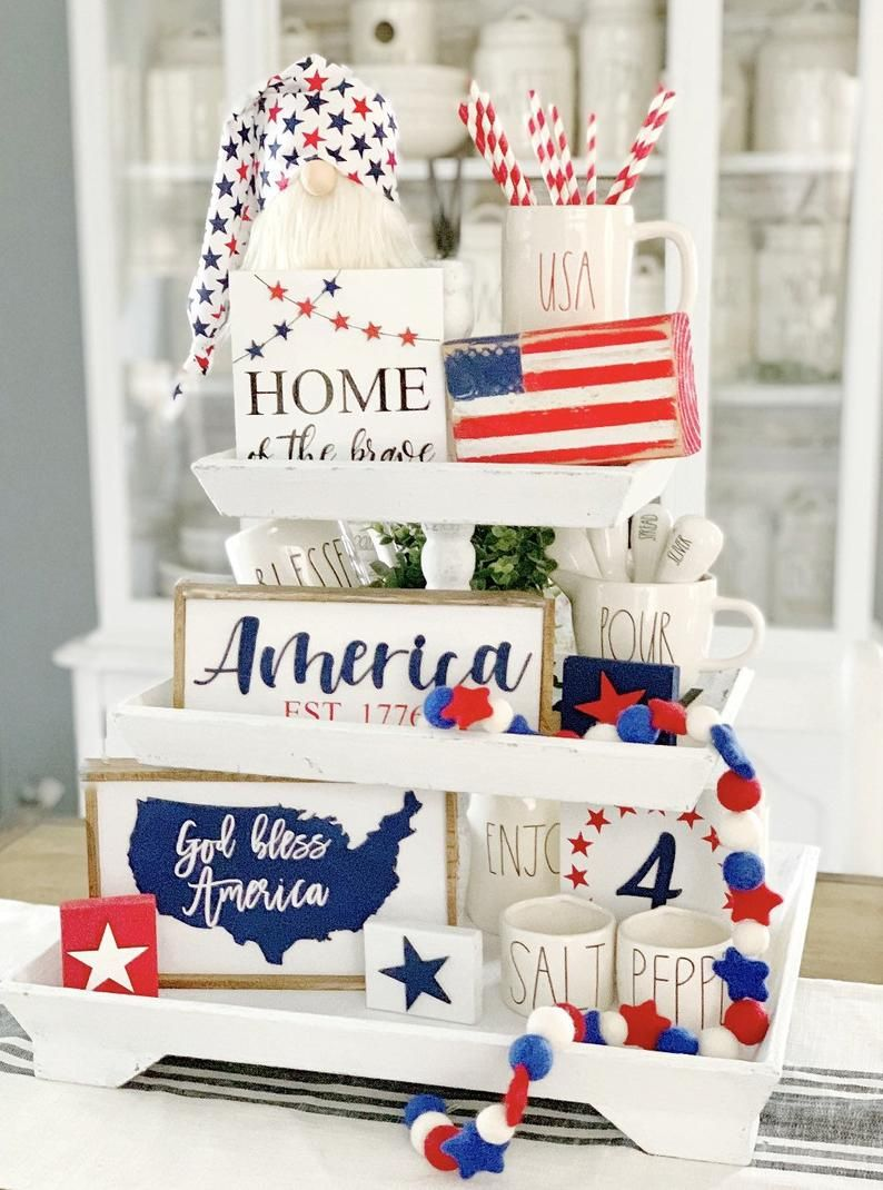 4th of July signs / patriotic decor / god bless America / 3D