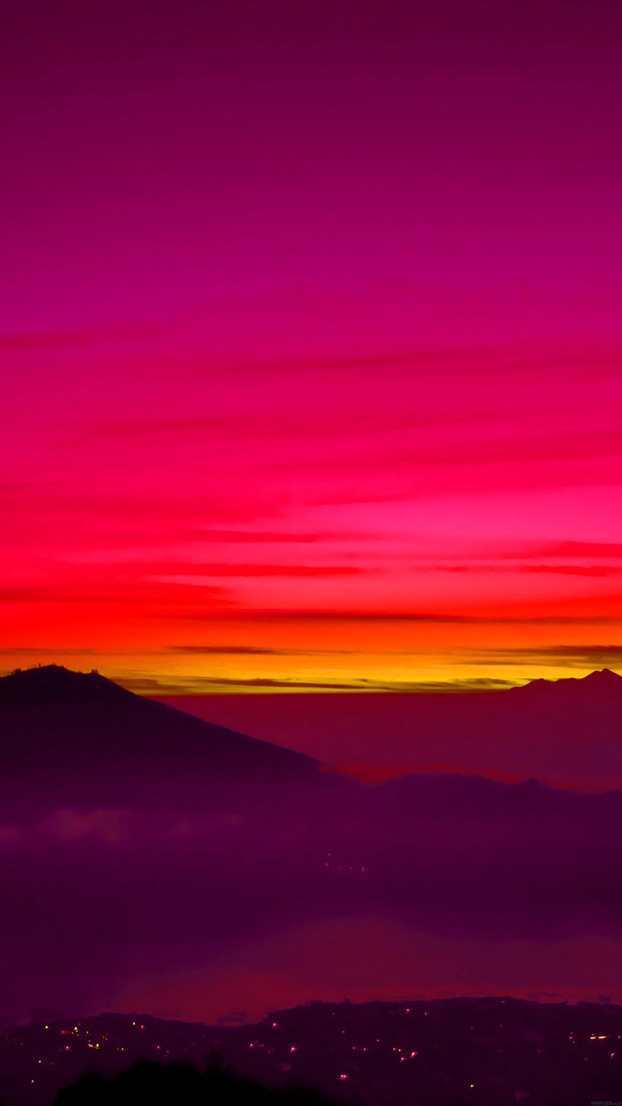 Night Sky Sunset Mountain Lights Red Wallpaper Clean Galaxy