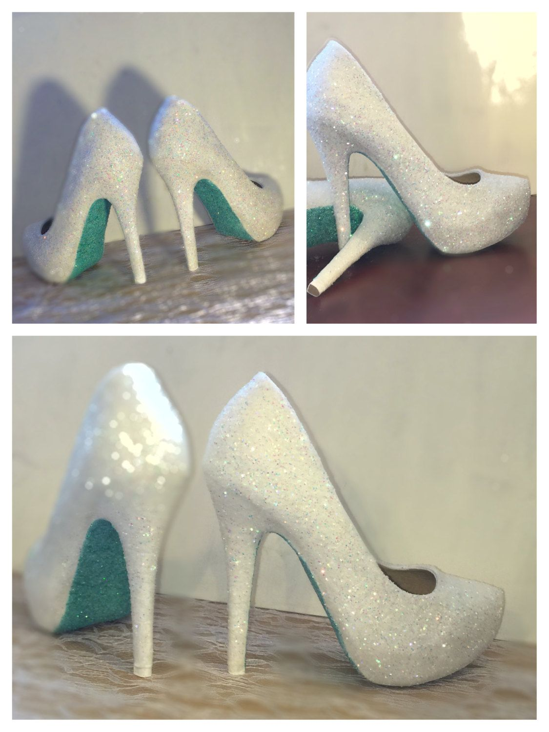 51b7c97977f Women s Sparkly glitter IVORY or WHITE sparkly mint green soles high or low  heels heel pumps stiletto wedding bride peep toe or pumps by CrystalCleatss  on ...