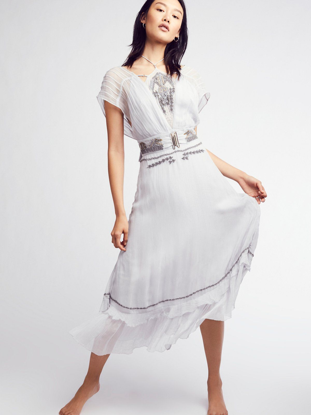 Victoria midi dress ties metals and free people