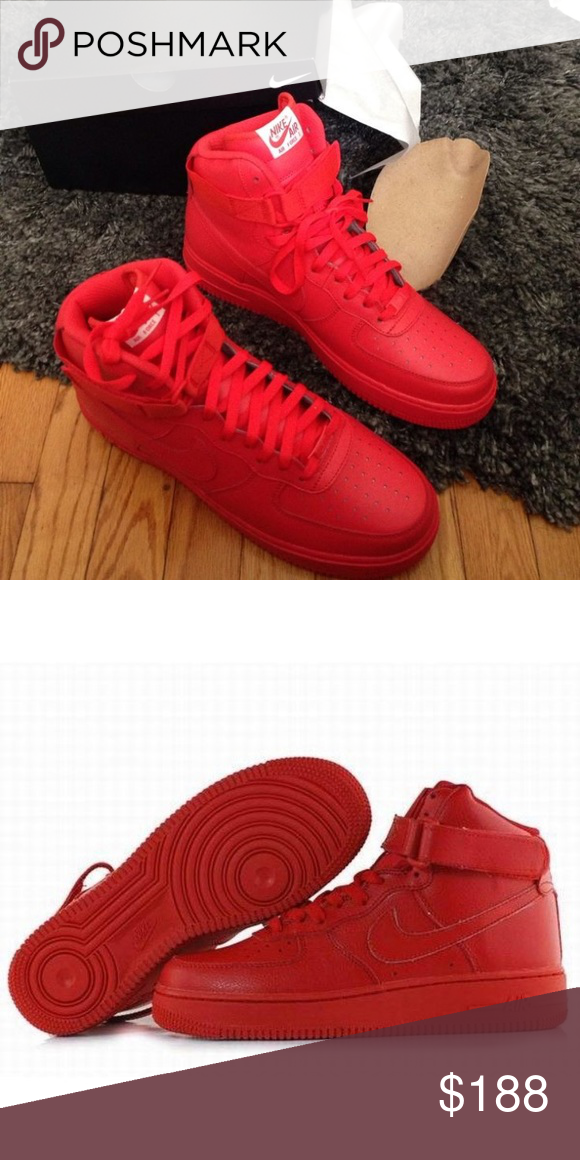 😍RARE ALL RED AIR FORCE ONES