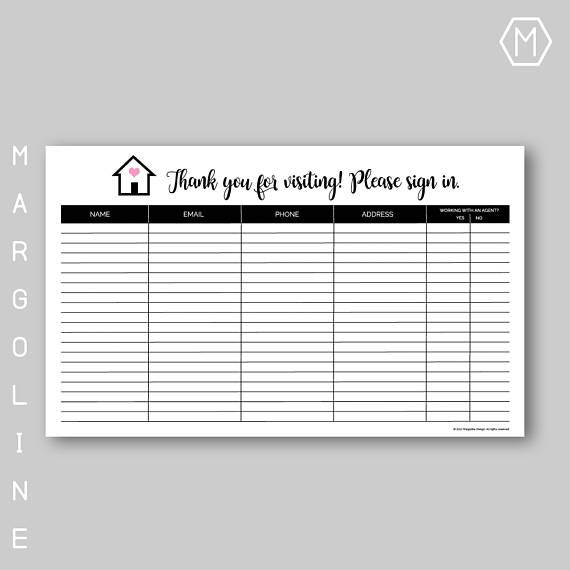 Real Estate Open House Sign In Sheet / Real Estate Open House - Sign Sheet Template