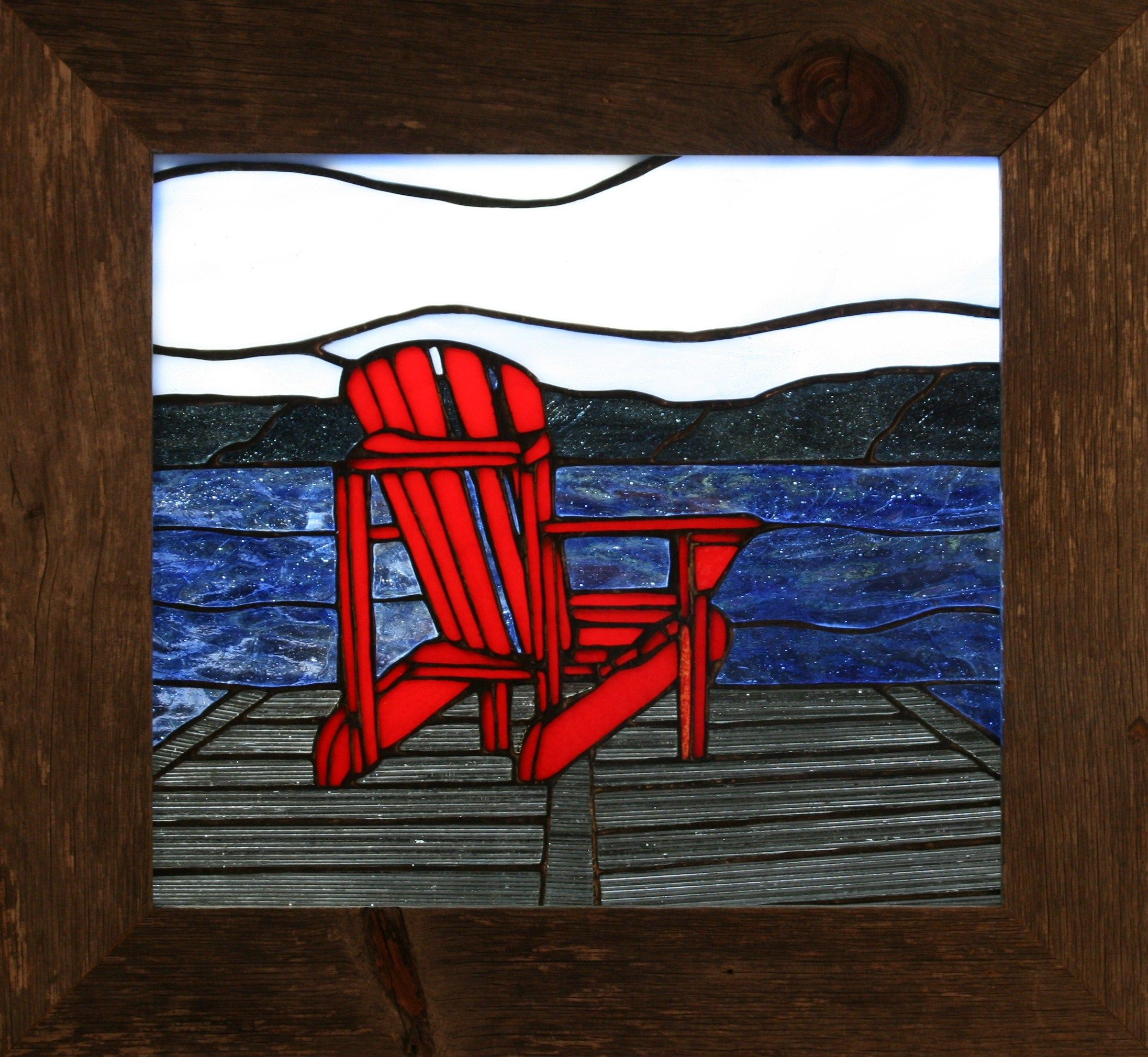 Adirondack chair on edge of dock Stained glass patterns