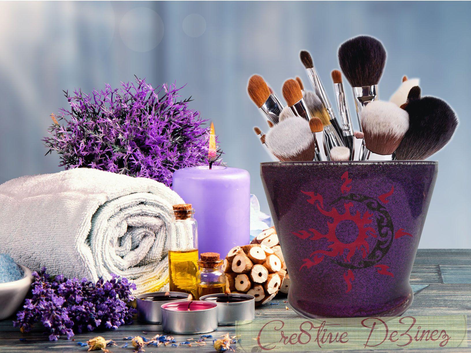 Sun and Moon Glitter Jar, Brush Holder, Makeup Brush Holder, Bathroom Decor, Glitter Brush Holder, I Love Makeup Jar, Vanity Storage