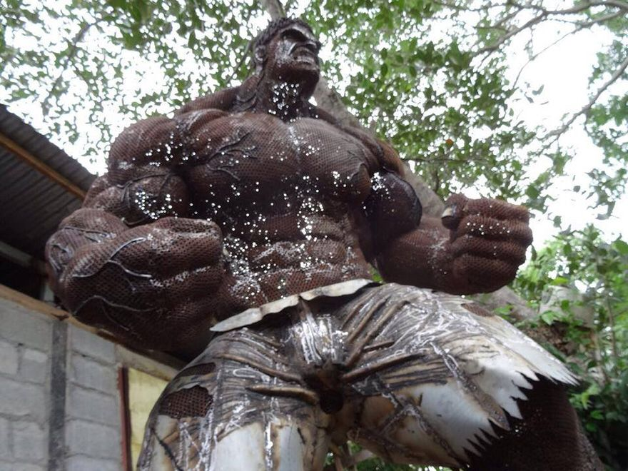 Hulk made of welded nuts and bolts