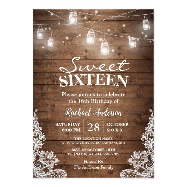 Rustic Mason Jar Lights Sweet 16 Birthday Party Invitation | Zazzle.com #sweet16birthdayparty