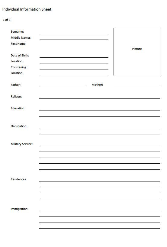 individual genealogy information form