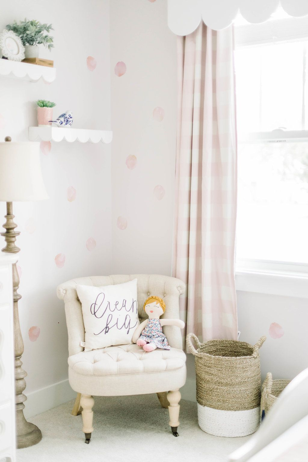 Big Girl Room Scalloped Shelves Gingham Print Watercolor Dots Wall Decals Pink Room Gingham Curtains Girls Room Wallpaper Pink Girl Room Girl Room