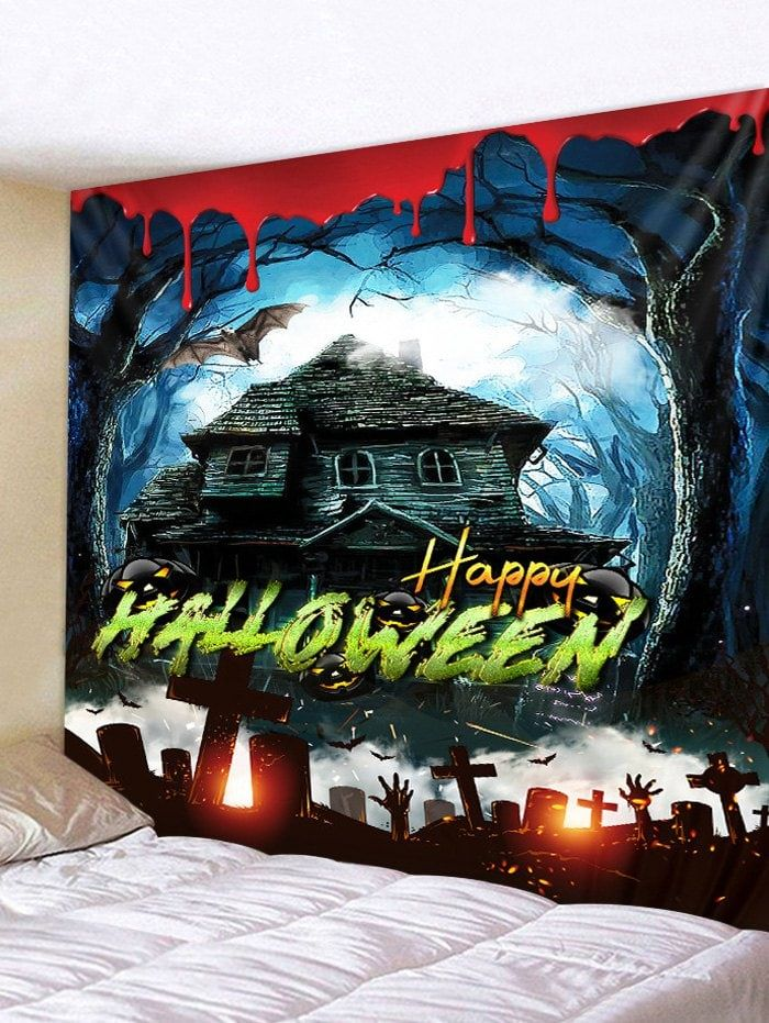 halloween blood haunted house print tapestry in 2020 on walls coveralls website id=26199