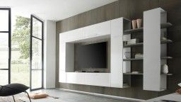 visto en mobiliariomoss ! gran mueble tv lacado blanco modulable ... - Muebles Tv Diseno