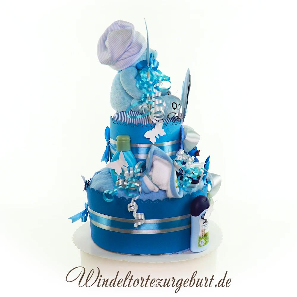 Diaper Cake Babyshower Gift Babyboy Diy Windeltorte