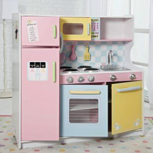 Kidkraft deluxe pastel play kitchen playhouse furniture for Playhouse kitchen ideas