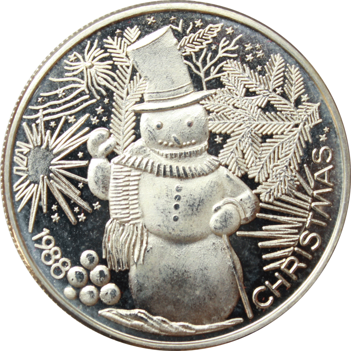 1988 christmas snowman 1 oz silver art round 999 pure http www