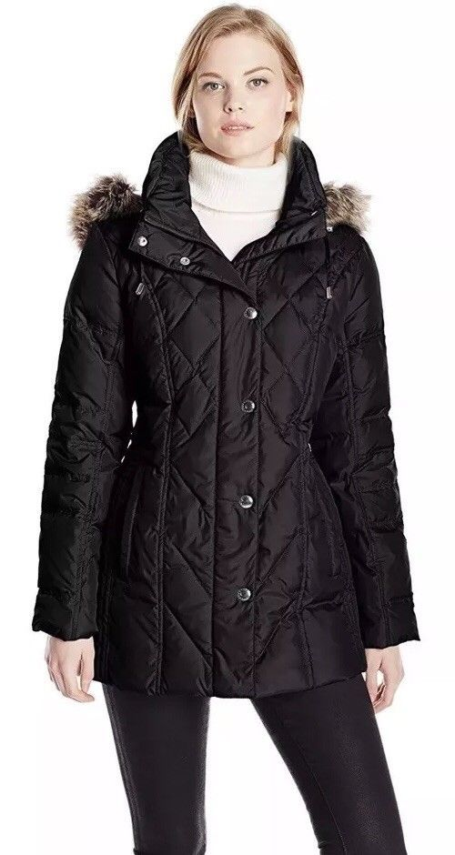 London Fog Women's Black Hooded Faux Fur Collar Down Quilted Coat ... : down quilted coats - Adamdwight.com