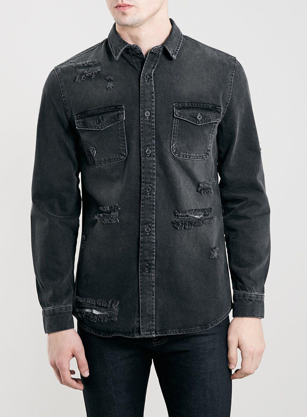 TOPMAN - Black Ripped Denim Long Sleeve Shirt | Wish List ...