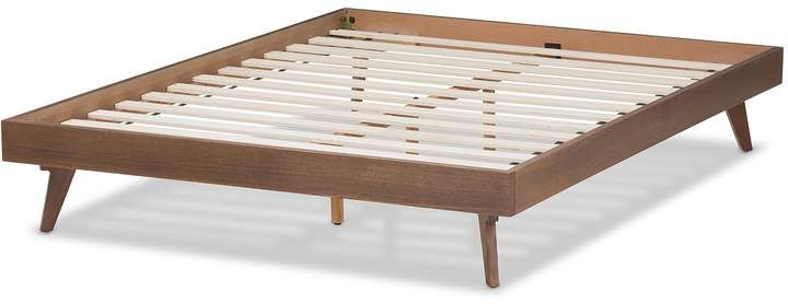 Baxton Studio Mid Century Walnut Bed Frame In 2020 Walnut Bed Frame Modern Bed Frame Solid