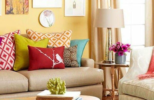 wohnzimmer sofas tisch rund farben wandgestaltung Покраска стен - wandgestaltung mit farbe wohnzimmer