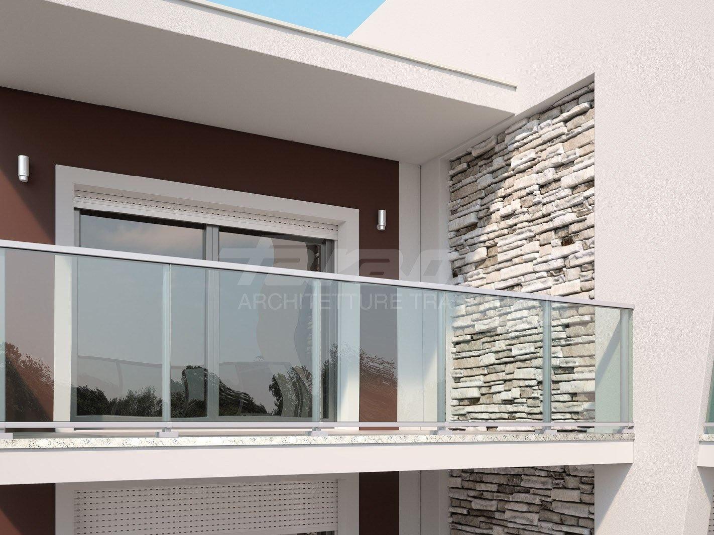 Baranda de escalera en aluminio y vidrio maior colors one for Escalera aluminio pequena