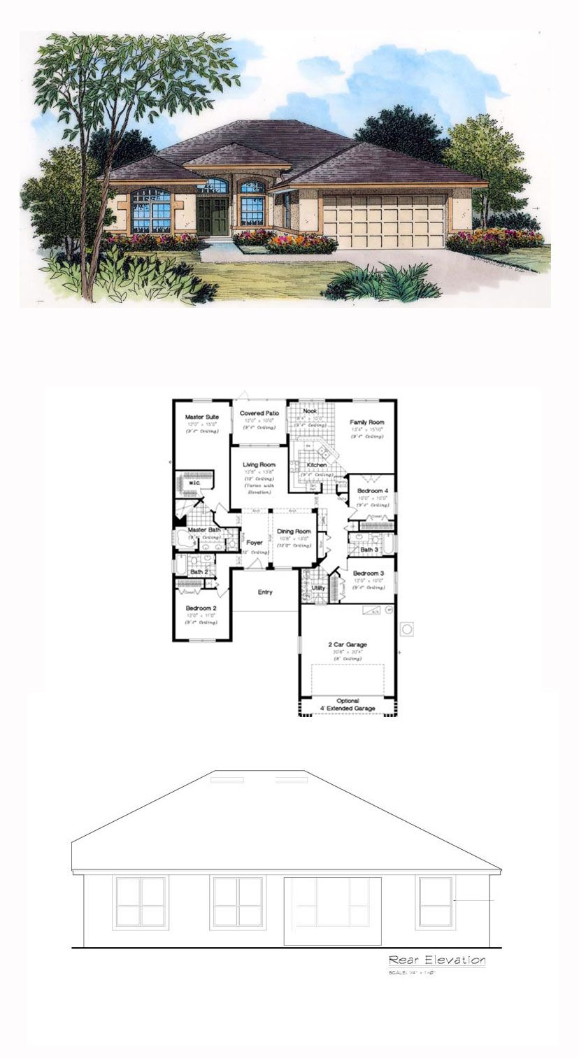 Tuscan Style House Plan 63375 With 4 Bed 3 Bath 2 Car Garage Tuscan House Plans Modern House Plans Tuscan House