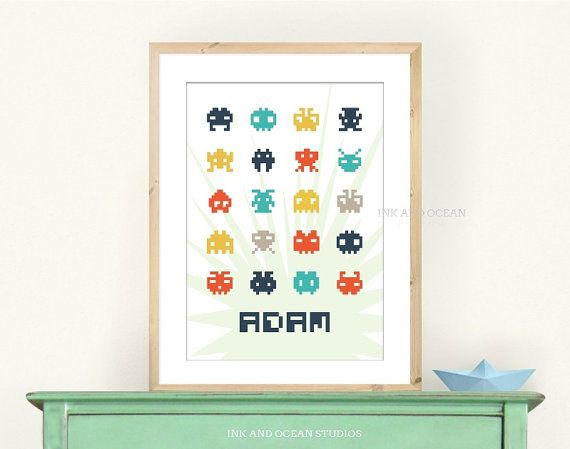 Kids printable space invaders art print. Personalized name Downloadable Art Print.  Available in blue and pink. Kids decor