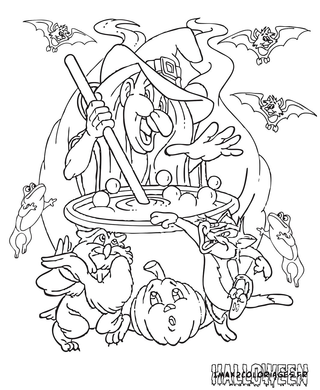 Coloriages halloween imprimer et colorier Sorci¨re d Halloween entourée de son chat et de son hibou