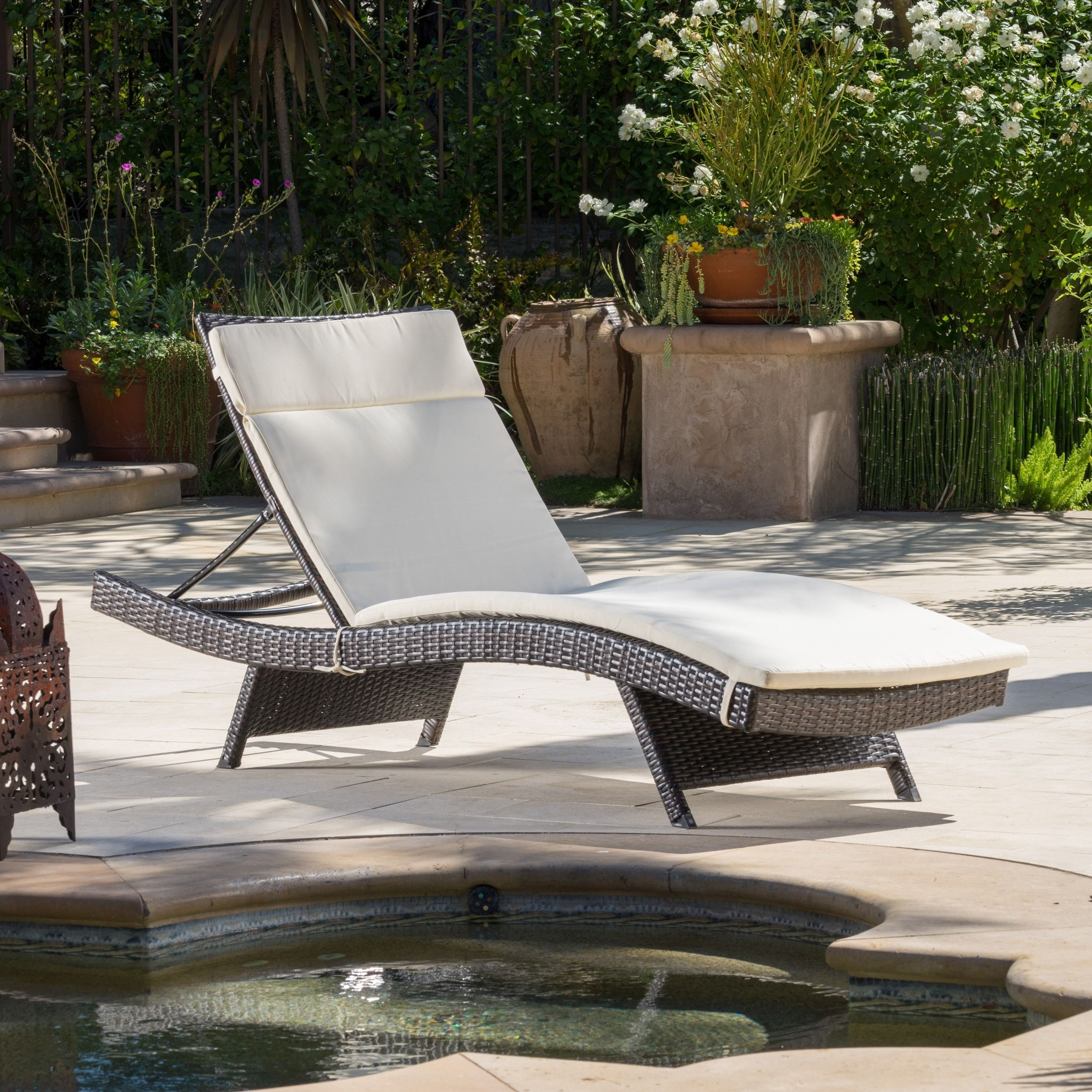 Merveilleux Toscana Outdoor Brown Wicker Adjustable Chaise Lounge With Cushion By  Christopher Knight Home | Overstock.com Shopping   The Best Deals On Chaise  Lounges