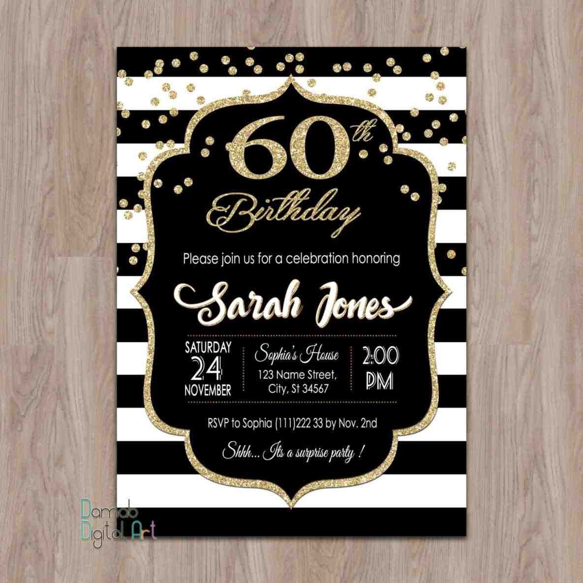 60th birthday invites. 18th birthday invitation pink and black ...