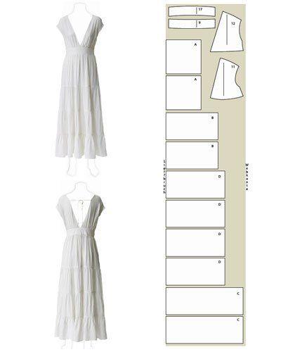 Hochzeitskleid Schnittzeichnung Weiße Seide und um einen Volant ...
