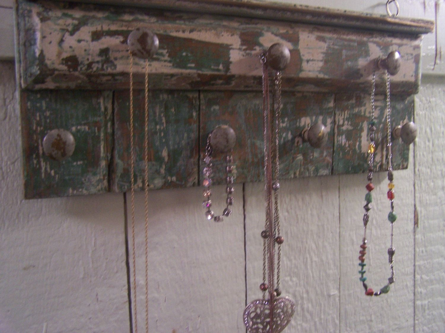 Handmade Jewelry Organizer Rack Reclaimed Distressed Wood Wall