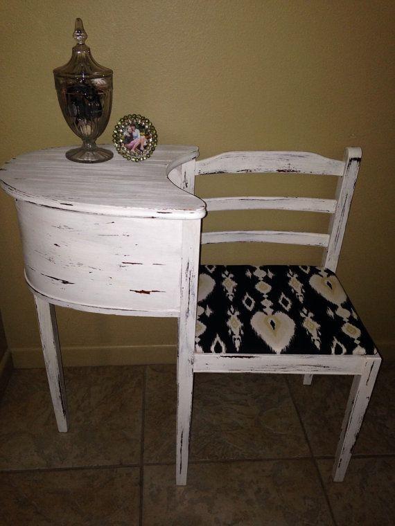 White; Shabby Chic; Wood; Antique; Vintage; Telephone