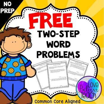Two Step Word Problem FREEBIE Word Problems Word